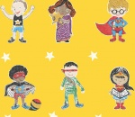 Super Stars Children's printed fabric - Yellow