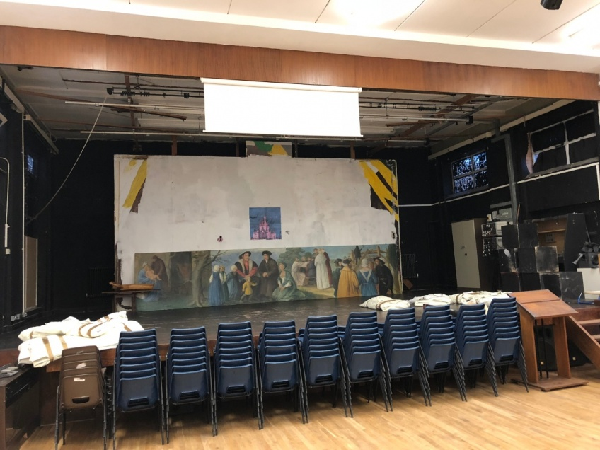 School Hall & Stage Curtains - Nuneaton - Hall Stage - before