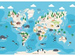 World Map Animals