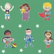 Super Stars Children's printed fabric - Green