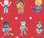 Super Stars Children's printed fabric - Red