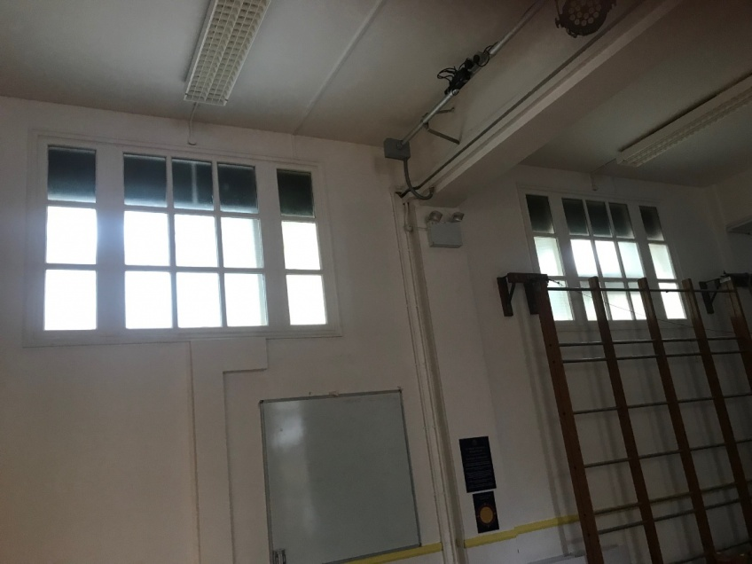 School Hall & Stage Curtains - Hampstead - Before: High level windows