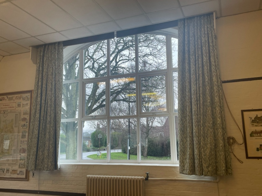 Village Hall Curtains & Blinds - Dorking - Completed