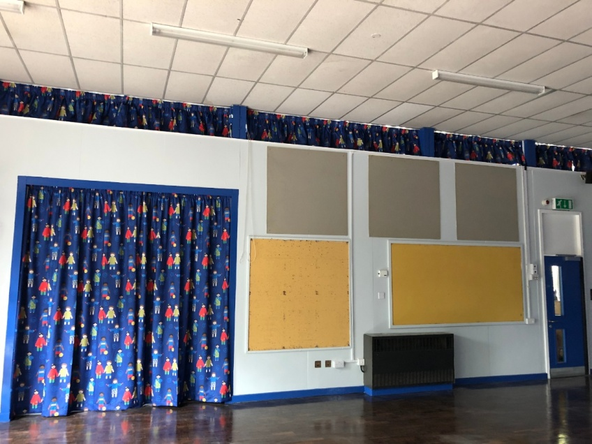 School Hall Curtains - Leicester - Completed