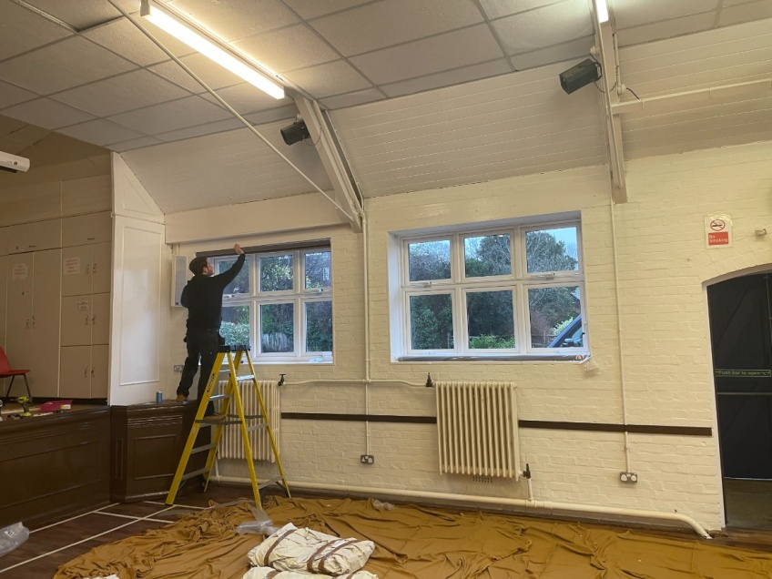 Village Hall Curtains & Blinds - Dorking - Blind installation