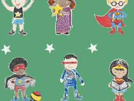 Super Stars Children's printed fabric - Green