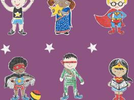 Super Stars Children's printed fabric - Purple