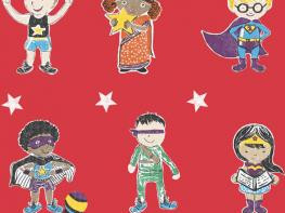 Super Stars Children's printed fabric - Red