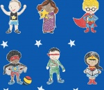 Super Stars Children's printed fabric - Blue