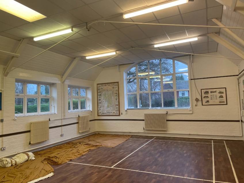 Village Hall Curtains & Blinds - Dorking - Before
