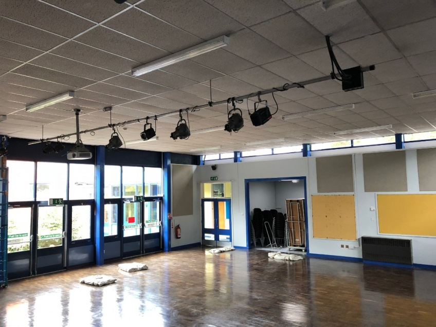 School Hall Curtains - Leicester - Before