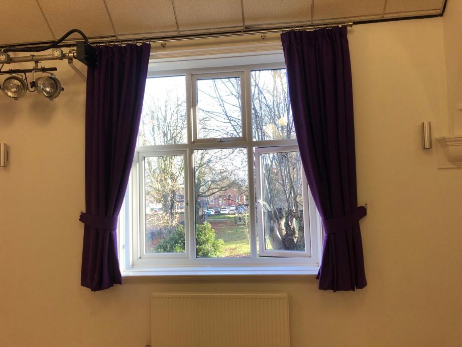 Community Hall Curtains - Hucknall->title 3