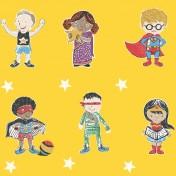 Super Stars Children's printed fabric - Yellow