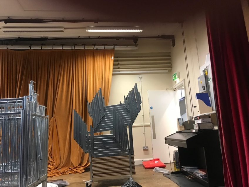 School Hall & Stage Curtains - Hampstead - Before: Stage