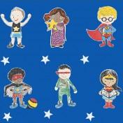 Super Stars Children's printed fabric - Blue