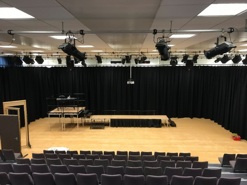 New School Hall Backdrop for Performances and Presentations -