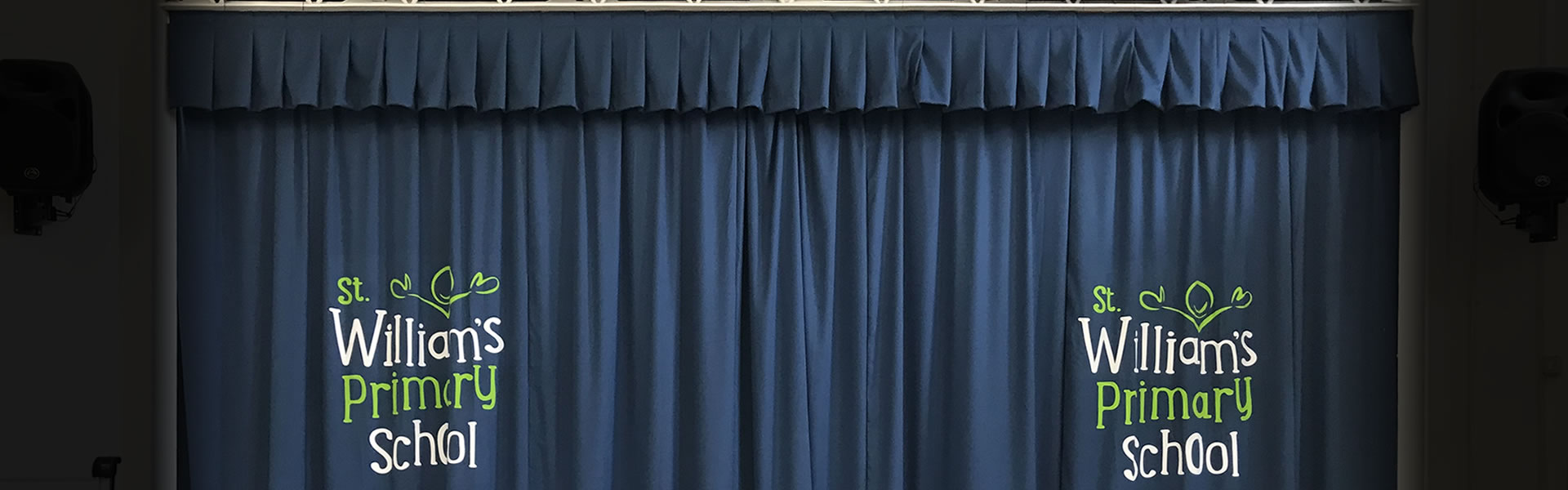 School Logo Curtains for School Halls & Stage Curtains